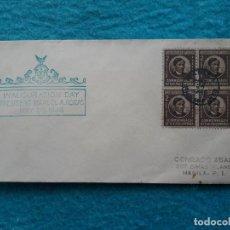 Sellos: SOBRE PRIMER DÍA. USA COMONWEALTH FILIPINAS. PRESIDENTE MANUEL A. ROXAS. 28 DE MAYO DE 1946.. Lote 194757681