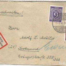 Sellos: ALEMANIA OCUPACION HEIDELBERG CERTIFICADA A DORTMUND 1946. Lote 199200246
