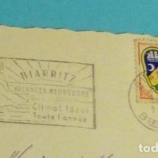 Sellos: FRANCIA. POSTAL CIRCULADA MATASELLO RODILLO BIARRITZ. 1961. Lote 199268248