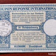 Sellos: COUPON-REPONSE INTERNATIONAL. ALEMANIA. 30 REICHSPFENNIG. MUNIC, 27 SEPTIEMBRE DE 1937. Lote 199707623