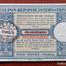 Sellos: COUPON-REPONSE INTERNATIONAL. SUIZA. 50 CENTIMOS. VEVEY, 13 JULIO DEL 1937. Lote 199708787