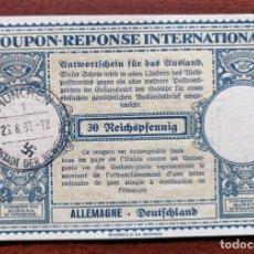 Sellos: COUPON-REPONSE INTERNATIONAL. ALEMANIA. 30 REICHSPFENNIG. 26 AGOSTO DEL 1937. Lote 199708978