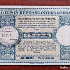 Sellos: COUPON-REPONSE INTERNATIONAL. ALEMANIA. 30 REICHSPFENNIG. BERLIN, 27 JULIO DEL 1937. Lote 199709152