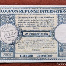 Sellos: COUPON-REPONSE INTERNATIONAL. ALEMANIA. 30 REICHSPFENNIG. WURZBURG, 10 SEPTIEMBRE DEL 1937. Lote 199709572