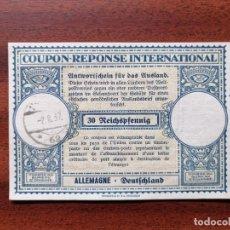 Sellos: COUPON-REPONSE INTERNATIONAL. ALEMANIA. 30 REICHSPFENNIG. 2 AGOSTO DEL 1937. Lote 199709728