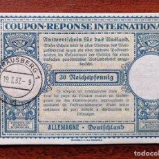 Sellos: COUPON-REPONSE INTERNATIONAL. ALEMANIA. 30 REICHSPFENNIG. STRAUSBERG, 19 JULIO DEL 1937. Lote 199709945