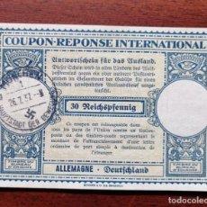 Sellos: COUPON-REPONSE INTERNATIONAL. ALEMANIA. 30 REICHSPFENNIG. MUNICH, 26 JULIO DEL 1937. Lote 199710116