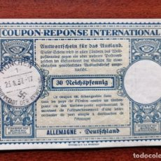 Sellos: COUPON-REPONSE INTERNATIONAL. ALEMANIA. 30 REICHSPFENNIG. MUNICH, 25 AGOSTO DEL 1937. Lote 199710395