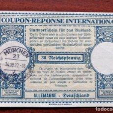 Sellos: COUPON-REPONSE INTERNATIONAL. ALEMANIA. 30 REICHSPFENNIG. MUNICH, 14 OCTUBRE DEL 1937. Lote 199710833