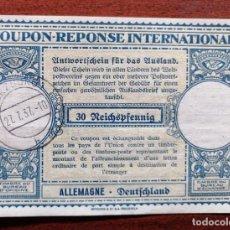Sellos: COUPON-REPONSE INTERNATIONAL. ALEMANIA. 30 REICHSPFENNIG. WURZBURG, 27 JULIO DEL 1937. Lote 199711178