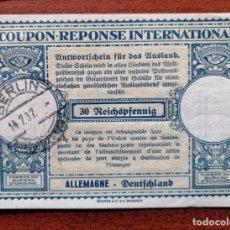 Sellos: COUPON-REPONSE INTERNATIONAL. ALEMANIA. 30 REICHSPFENNIG. BERLIN, 14 JULIO DEL 1937. Lote 199711725