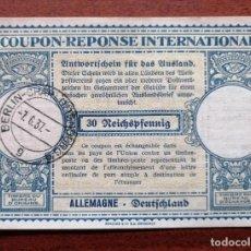 Sellos: COUPON-REPONSE INTERNATIONAL. ALEMANIA. 30 REICHSPFENNIG. BERLIN, 7 JUNIO DEL 1937. Lote 199712401