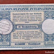 Sellos: COUPON-REPONSE INTERNATIONAL. ALEMANIA. 30 REICHSPFENNIG. WURZBURG, 5 AGOSTO DEL 1937. Lote 199712855