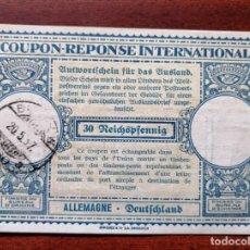 Sellos: COUPON-REPONSE INTERNATIONAL. ALEMANIA. 30 REICHSPFENNIG. BERLIN, 20 MAYO DEL 1937. Lote 199713251