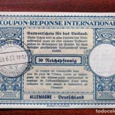 Sellos: COUPON-REPONSE INTERNATIONAL. ALEMANIA. 30 REICHSPFENNIG. BERLIN, 29 JUNIO DEL 1937. Lote 199713510