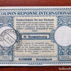 Sellos: COUPON-REPONSE INTERNATIONAL. ALEMANIA. 30 REICHSPFENNIG. BERLIN, 24 JUNIO DEL 1937. Lote 199713626