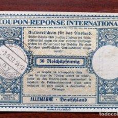 Sellos: COUPON-REPONSE INTERNATIONAL. ALEMANIA. 30 REICHSPFENNIG. BERLIN, 3 SEPTIEMBRE DEL 1937. Lote 199713846