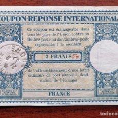 Sellos: COUPON-REPONSE INTERNATIONAL. FRANCIA. 2 FRANCS. TARARE, 21 AGOSTO DEL 1937. Lote 199723975