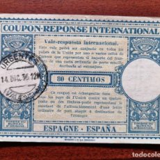 Sellos: COUPON-REPONSE INTERNATIONAL. ESPAÑA. VALENCIA, 14 DICIEMBRE DEL 1937. GUERRA CIVIL. Lote 199724145
