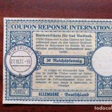 Sellos: COUPON-REPONSE INTERNATIONAL. ALEMANIA. WURZBURG, 27 OCTUBRE DEL 1937. Lote 199724240