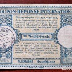 Sellos: COUPON-REPONSE INTERNATIONAL. ALEMANIA. MUNICH, 1 NOVIEMBRE DEL 1937. SELLO NAZI. HITLER. Lote 199724498