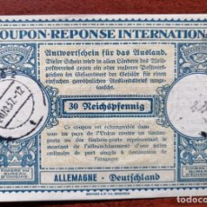 Sellos: COUPON-REPONSE INTERNATIONAL. ALEMANIA. WURZBURG, 20 OCTUBRE DEL 1937. Lote 199724762