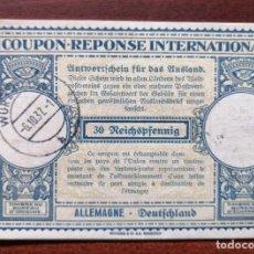 Sellos: COUPON-REPONSE INTERNATIONAL. ALEMANIA. WURZBURG, 6 OCTUBRE DEL 1937. Lote 199725220