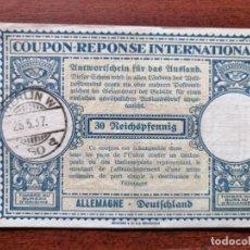 Sellos: COUPON-REPONSE INTERNATIONAL. ALEMANIA. BERLIN, 25 MAYO DEL 1937. Lote 199725386