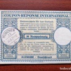 Sellos: COUPON-REPONSE INTERNATIONAL. ALEMANIA. MUNICH, 30 AGOSTO DEL 1937. Lote 199725655