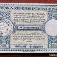Sellos: COUPON-REPONSE INTERNATIONAL. ALEMANIA. MUNICH, 27 AGOSTO DEL 1937. Lote 199726175
