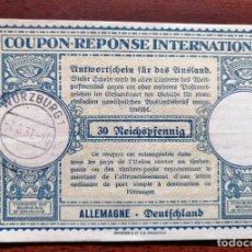 Sellos: COUPON-REPONSE INTERNATIONAL. WURZBURG, 7 AGOSTO DEL 1937. Lote 199726427