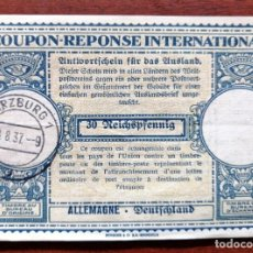 Sellos: COUPON-REPONSE INTERNATIONAL. WURZBURG, 28 AGOSTO DEL 1937. Lote 199726505