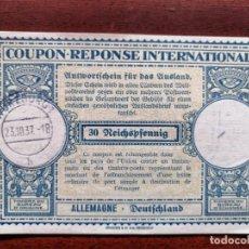 Sellos: COUPON-REPONSE INTERNATIONAL. WURZBURG, 23 OCTUBRE DEL 1937. Lote 199726542