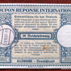 Sellos: COUPON-REPONSE INTERNATIONAL. WURZBURG, 29 OCTUBRE DEL 1937. Lote 199726652