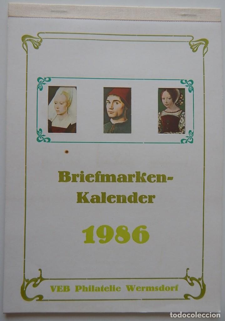 CALENDARIO FILATÉLICO ALEMANIA 1986 / BRIEFMARKEN KALENDER 1986 - VEB PHILATELIE WERMSDORF (Sellos - Historia Postal - Sellos otros paises)