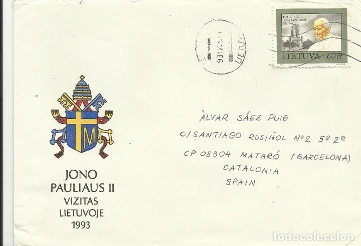 SOBRE CON SELLO SELLADO. LIETUVA. LITUANIA. VILNIUS. PAPA JUAN PABLO II. 1993. BUEN ESTADO. 11X16 CM (Sellos - Historia Postal - Sellos otros paises)