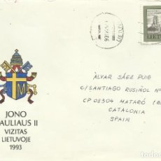 Sellos: SOBRE CON SELLO SELLADO. LIETUVA. LITUANIA. VILNIUS. PAPA JUAN PABLO II. 1993. BUEN ESTADO. 11X16 CM. Lote 203805260