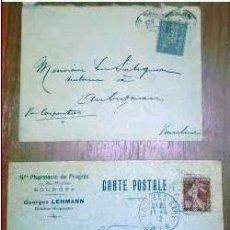Sellos: SOBRES CIRCULADOS FRANCIA 2 CARTAS POSTAL. 1900 Y 1912 PRINCIPIO SIGLO XX. Lote 205350813