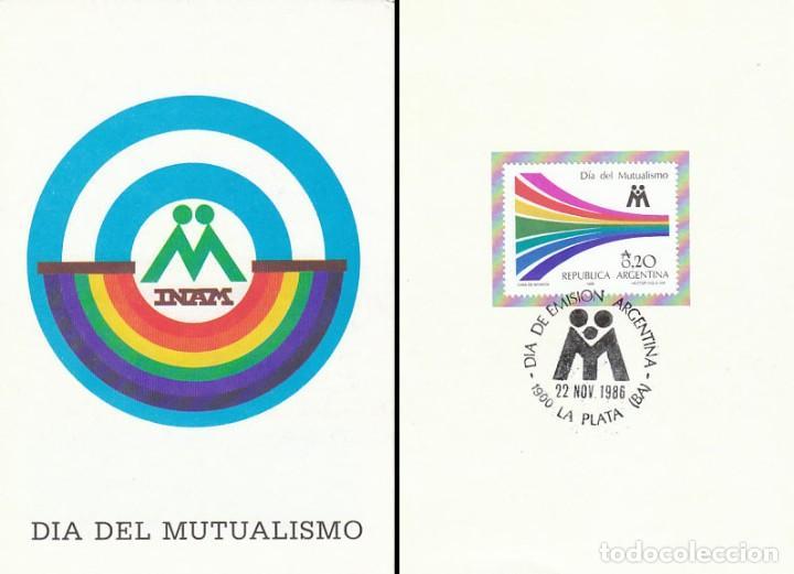 ARGENTINA, DIA DEL MUTUALISMO, PRIMER DIA DE 22-11-1986, DIPTICO DEL SERVICIO FILATELICO ARGENTINO (Sellos - Historia Postal - Sellos otros paises)