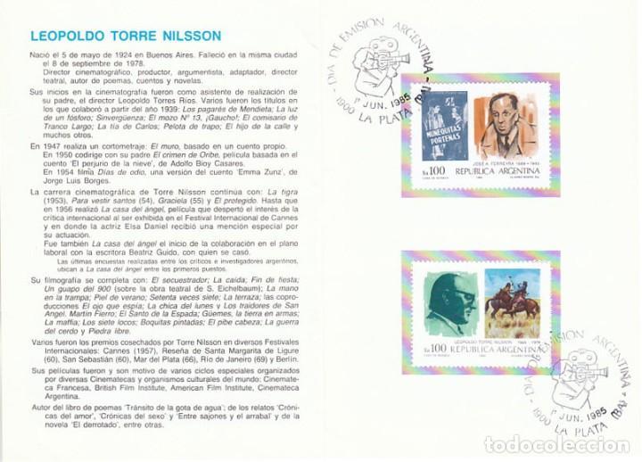 ARGENTINA, CINE ARGENTNO, PRIMER DIA 1-6-1985 DESPLEGABLE SERVICIO FILATELICO ARGENTINO (Sellos - Historia Postal - Sellos otros paises)