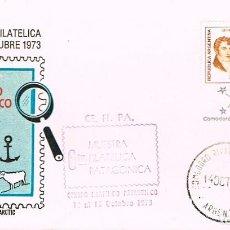 Sellos: ARGENTINA, MUESTRA FILATELICA DE LA PATAGONIA, MATASELLO DE 14-10-1973. Lote 206245898