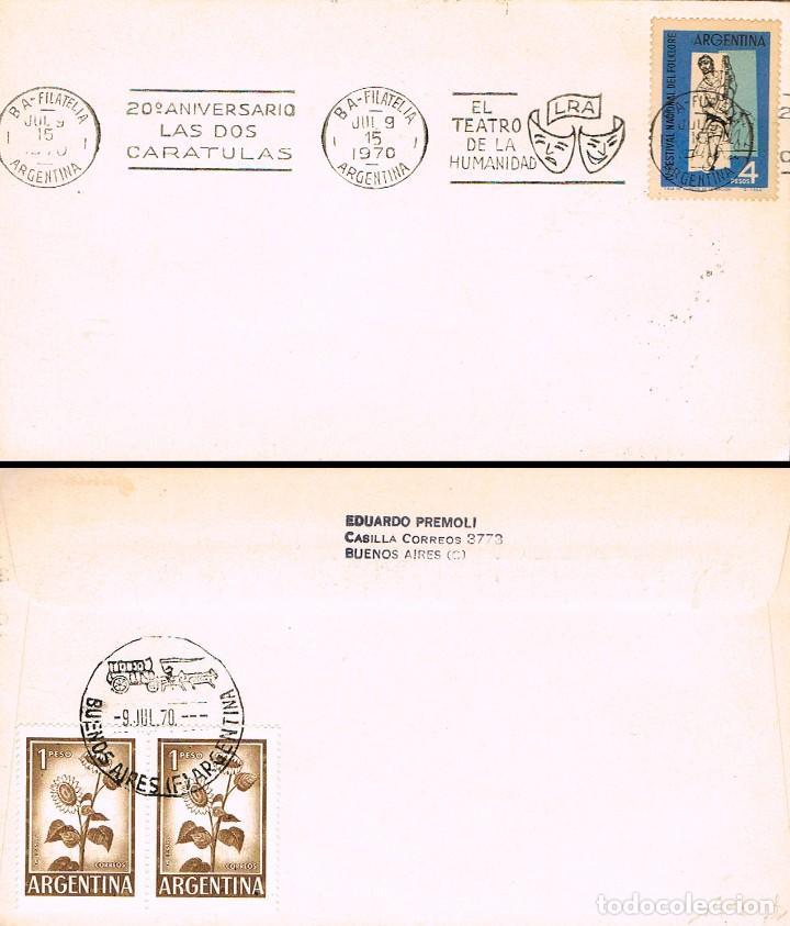 ARGENTINA, 20 ANIVERSARIO DE LAS DOS CARATULAS, EL TEATRO DE LA HUMANIDAD, MATASELLO DE 9-7-1970 (Sellos - Historia Postal - Sellos otros paises)