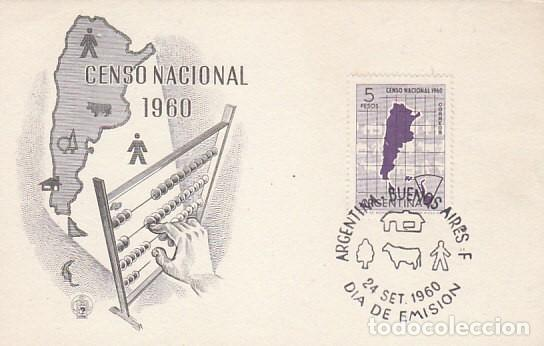ARGENTINA, CENSO NACIONAL 1960, PRIMER DIA DE 24-9-1960 (Sellos - Historia Postal - Sellos otros paises)