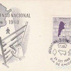 Sellos: ARGENTINA, CENSO NACIONAL 1960, PRIMER DIA DE 24-9-1960. Lote 206247111