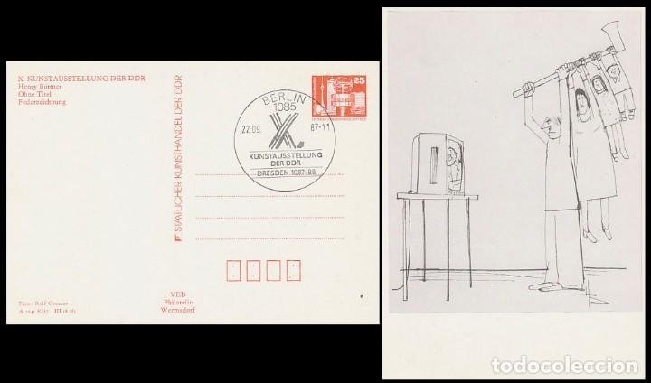 ALEMANIA ORIENTAL, ENTERO POSTAL, EXPOSICION DE ARTE DE LA DDR EN DRESDE, MATSELLO DE 22-9-1987 (Sellos - Historia Postal - Sellos otros paises)