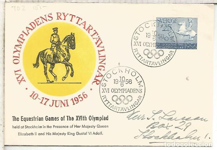 SUECIA CC MAT PRUEBAS HIPICAS DE LOS JUEGOS OLIMPICOS DE 1956 MELBOUNE OLYMPIC GAMES (Sellos - Historia Postal - Sellos otros paises)