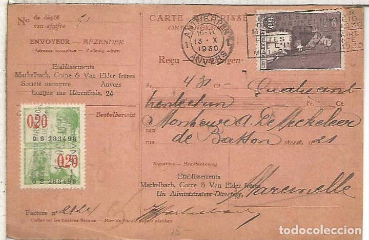 BELGICA ANTWERPEN 1930 TARJETA CONTRA REEMBOLSO CON SELLO FISCAL (Sellos - Historia Postal - Sellos otros paises)