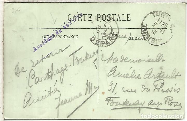 TUNEZ TUNISIA 1913 TP A FRANCIA MARCA ACCIDENT DE SERVICE (Sellos - Historia Postal - Sellos otros paises)