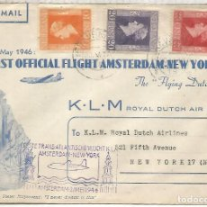 Sellos: HOLANDA 1945 PRIMER VUELO KLM AMSTERDAM NEW YORK. Lote 210359740