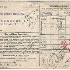Sellos: ALEMANIA 1957 HAMBURG PAGO DE FACTURAS TELEFONICAS TELEPHONE INVOICE. Lote 210360437
